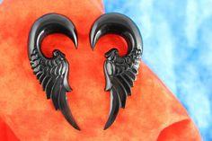 Black Feather Stretch Gauge Earrings