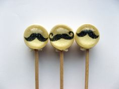 Ball style mini mustache edible images hard candy lollipop - 6 pc. - MADE TO ORDER. $10,50, via Etsy.