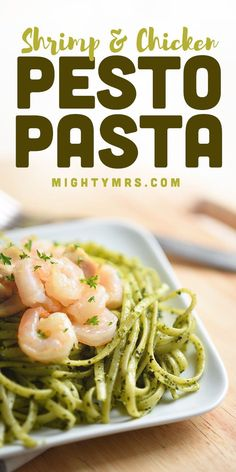 This Shrimp and Chicken Pesto Pasta Dinner recipe is easy to make with a quick homemade basil and spinach pesto sauce that's tasty yet so simple to pull off. Save time, use rotisserie chicken and frozen raw shrimp. Pair this pasta with a salad or roasted veggie like asparagus or broccoli for a complete healthy dinner. You'll love the flavor the toasted pine nuts and parmesan cheese add to this dish! A must try, easy weeknight dinner idea! Easy Pasta Recipes, Easy Chicken Recipes, Light Recipes, Easy Dinner Recipes, Noodle Recipes, Dinner Ideas, Pesto Chicken, Pesto Pasta, Pesto Sauce