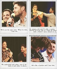 If you don't think the friendship between Jared and Jensen isn't the cutest damn thing you've ever witnessed, then I can't help you. #squishable #cutengeeky