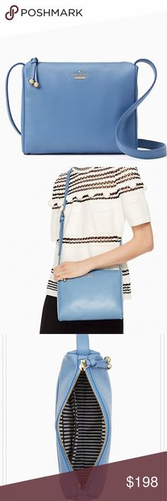 "NWT Kate Spade tile blue leather crossbody bag Brand new with tags! Full details in last picture. Blue pebbled leather with 22"" adjustable strap. Comes with dustbag. kate spade Bags Crossbody Bags"