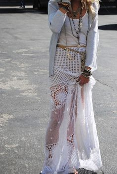 Easy breezy summer style: crochet maxi skirt, cardigan, layered jewelry & flowing skirt. For the BEST summer fashion trends in jewelry, clothing, & accessories FOLLOW http://www.pinterest.com/happygolicky/summer-style-jewelry-clothing-swimsuits-accessorie/ now