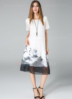 Polyester Animal Short Sleeve Mid-Calf Casual Dresses (1013747) @ floryday.com
