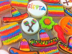 Mexican Fiesta MINI cookies - hand painted sombreros! SO CUTE!