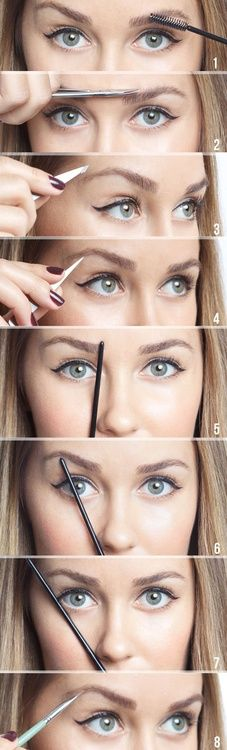 How to apply eyebrow pencil: 1. Brush hair UP 2. Trim hair OUTSIDE of brow line 3. and 4. Pluck hairs with tweezers 5. Hold pencil straight from edge of nose. This is where inside of brow should be. 6. Angle pencil to middle of iris. This is where the arch should be. 7. Angle pencil to edge of eye. This is where the end of the brow should be. 8. Fill in with pencil (light feathery motions)