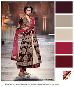 Fall browns and reds... coffe brown, khaki, beige, cinnamon red, plum.
