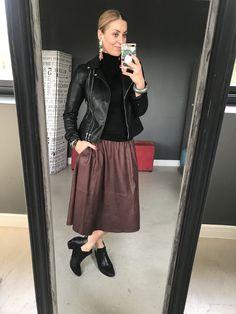 #earrings #black #leather #jacket #poloneck #burgundy #skirt #ankleboots #watch #bracelet #imageconsultant #stylist #personalshopper #motivationalspeaker #saimage