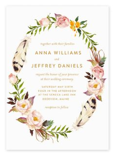 Beautiful Wreath Floral Boho Wedding Invitations from Etsy