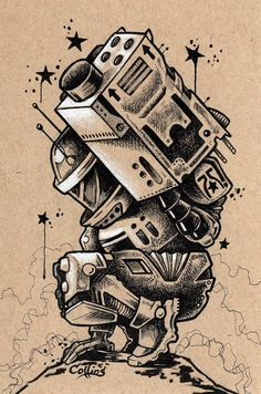 Robot original ink illustration by Bryan Collins  #Robots #Mecha #Tech #SciFI