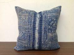 "Vintage Homespun Hemp Batik Hand Woven Decorative Throw Pillows Case Pieces Of Tradition Tribal Costume 18"" x 18"". $55.00, via Etsy."