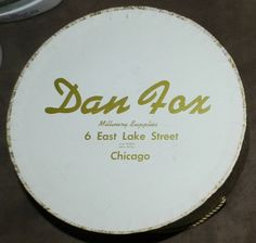 Vintage Dan Fox Millinery Supplies Chicago Hat Box by PeggysVintageVariety on Etsy