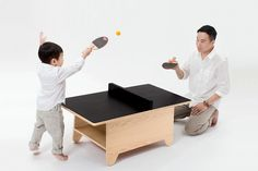 Let the games begin! Play an exciting game of ping pong and keep scores on the chalkboard surface. When game time ends, transform it back into an everyday coffee table or play table.  Handcrafted from premium grade birch plywood. Each set includes the Birch edition table, pair of paddles and uncrushable balls, divider, and a chalk kit with dustless chalk and eraser. Conforms to safety testing of ASTM F963. For 3 years and up.  Flat packed with easy assembly instructions.
