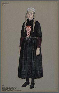 Marken, 1945. Huwelijksvoltrekken. Costuum gedragen door de Rode Bruid uit de rouw. Vroeger eveneens door de Witte Bruid.  De dracht van een rode bruid tijdens de huwelijksvoltrekking. Vroeger ging de witte bruid eveneens zo gekleed naar het stadhuis.