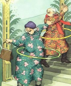 Fun Illustration, Illustrations, Granny Fun, Fittness, Friendship Theme, Old Lady Humor, Old Mother, Character Design Animation, Dance Art