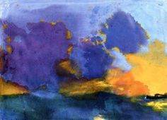 dappledwithshadow:  Sea with Light Violet CloudEmil Nolde - Date unknown Nolde Foundation Seebüll - Neukirchen (Germany)	Painting - watercolor Height: 36.5 cm (14.37 in.), Width: 50.8 cm (20 in.)