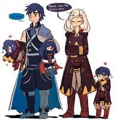 Fire Emblem Awakening- Chrom, Robin, Lucina, Male Morgan and Female Morgan