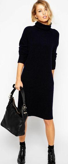 robe en laine femme en noir tombant librement sur le corps Robe Pull Laine,  Robe 1daf13a1b7fe