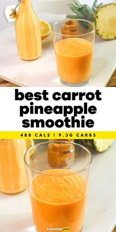 Easy Carrot and Pineapple Smoothie Recipe - It's sweet, nutty and full-bodied. It makes a great breakfast, snack or post-workout shake and you can also freeze it using ice cube trays or ice-cream molds.