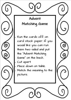 Free Advent Matching Game with symbols and  descriptions for fun games for your kids at home and school!