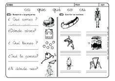 Fichas infantiles para aprender a leer y aprender a escribir con la letra C. Dibujos Lectoescritura con letra C para colorear. Lectoescritura_CyQ_34