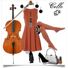 Cello would be kinda hard to play in a dress but whatever, still cute.