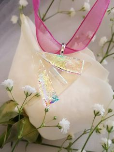 Triangular dichroic fused glass pendant enhances by Infusiastic