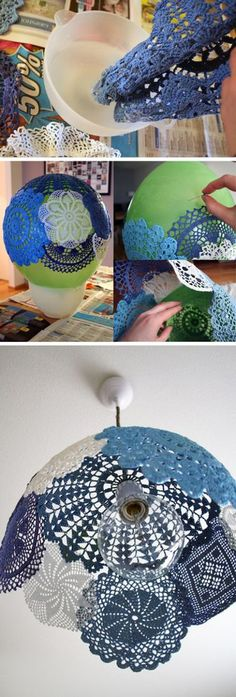"""This one is for Denise;) """"DIY lace lampshade- Starch or glue mix over doilies placed on balloon, let dry, pop ballon."""", """"DIY Lace Lampshade - Would love Lace Lampshade, Doily Lamp, Crochet Lampshade, Crafts To Do, Arts And Crafts, Diy Y Manualidades, Diy Papier, Diy Art, Diy Home Decor"""