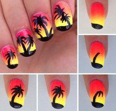 by step palm tree nails Step by step palm tree nails - -Step by step palm tree nails - - Sunset Nails, Beach Nails, Summer Toe Nails, Summer Acrylic Nails, Nail Art Designs Videos, Toe Nail Designs, Pedicure Nail Art, Diy Nails, Shellac Nails