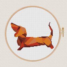 Geometric dog Cross Stitch pattern dachshund Pattern Modern