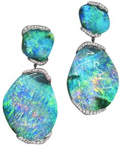 ZoZo Boulder Opal Earrings: 101 carats of boulder opal and .80 carat of pave diamonds set in 18 karat white gold.