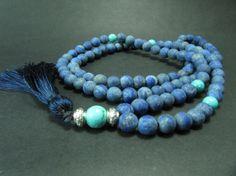 108 Mala BeadsTurquoise  & Matte Lapis Lazuli Gypsy by GreenPalace