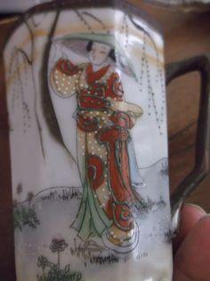 Antique Nippon Chocolate Mug Cup, Beautiful Geisha Girls,high raised paint beads #Nippon