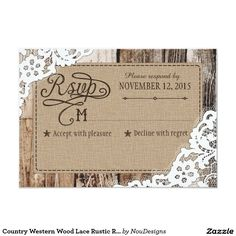 Country Western Wood Lace Rustic RSVP Card
