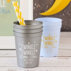 Twinkle Twinkle Stadium Cups are a great idea for Baby Shower Favors. Click for more Twinkle Twinkle baby shower ideas and free printables and decorations. #twinkletwinklelittlestarbabyshower #freeprintablebabyshowergames #twinkletwinklebabyshowerfavors