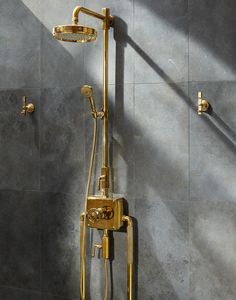 Imagine waking up to this view. Our unlacquered brass R. Atlas shower system is an eyeopener. Shower Rose, Bathroom Fixtures, Bathrooms, Waterworks, Shower Systems, Bathroom Interior Design, Mid-century Modern, Door Handles, Wall Lights