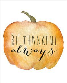be thankful always watercolor pumpkin autumn fall thanksgiving