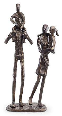 Sculpture: Parents Carrying Children Sculpture In Bronze Finish