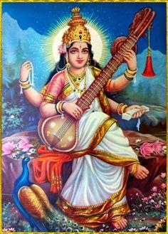 Saraswati Photo, Durga Ji, Saraswati Goddess, Mother Goddess, Goddess Lakshmi, Saraswati Mata, Shiva Art, Ganesha Art, Krishna Art