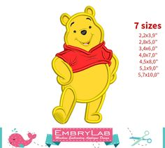Applique Winnie The Pooh. Machine Embroidery Applique Design. Instant Digital Download (17318) by EmbryLab on Etsy