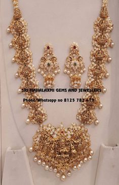 Bridal haarams new variety added. Visit for the best designs. Presenting here is deep nakshi work Lakshmi haaram with Chandbali earrings. Visit for full variety. Contact no 8125 782 411 17 January 2019 Indian Gold Jewellery Design, Jewellery Designs, Indian Jewelry, Latest Jewellery, Bridal Jewelry, Gold Jewelry, Gold Necklace, Jewelry Design Drawing, Stylish Jewelry