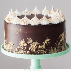 S'mores Cake - chocolate cake with graham crackerbuttercream filling, chocolate ganache frosting and toasted marshmallow meringue and graham cracker crumbles.