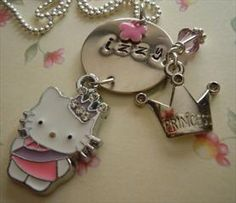 New! Girls Handstamped Personalized HELLO KIITY Necklace: List Price $21.99