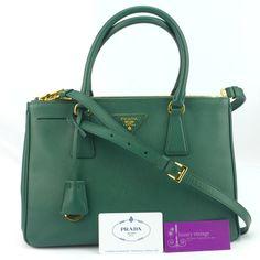 PRADA Lux BN1801 Dark Green Color Saffiano Leather With Gold Hardware Good Condition  Ref.code-(KTCT-2) More Information Pls Email  (- luxuryvintagekl@ gmail.com )