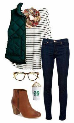 Stripes puffy jacket combo