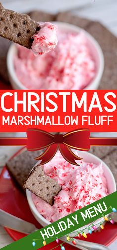 Marshmallow Fluff dip with crushed candy canes make a delicious way to dip, dip, dip and enjoy peppermint perfection this holiday season.  #fluff #marshmallow #dip #christmas #holiday