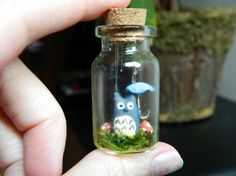 Tiny Totoro in the Rain Terrarium Necklace by ButtercupBrickley, $23.00