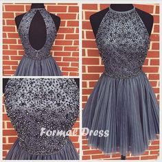 2016 New Elegant Beaded Gray Short Homecoming Dresses #prom #promdress
