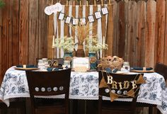 DIY Country Bridal Shower by @3D-Memoirs  and Natalie Henderson. Napkins and table linen from LinenTablecloth.: Very cute idea