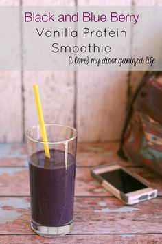 This Black and Blue Berry Vanilla Protein Smoothie is perfect for busy mornings when you just can't seem to get out of the door on time!