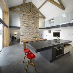Contemporary Cat Hill Barn Conversion in Yorkshire. home decor and interior decorating ideas. Exposed Trusses, Exposed Brick, Renovation D, Cuisines Design, Interiores Design, Kitchen Interior, Loft Kitchen, Open Kitchen, Kitchen Dining
